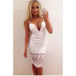 Sexy Romantie - Deep-V Lace Panel Bodycon Dress