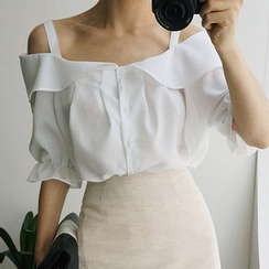 chuu - Ruffled Off-Shoulder Blouse
