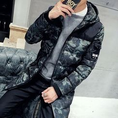 Hawoo - Hooded Camouflage Print Padded Coat