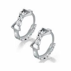 MaBelle - 14K Italian White Gold Diamond-Cut Bow Round Hoop Earrings