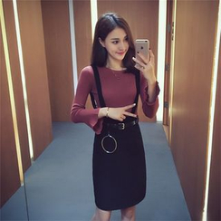 Ashlee - Set: Plain Long Sleeve Top + Plain Suspender Skirt