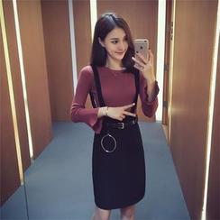 Ashlee - 套装: 纯色长袖上衣 + 纯色吊带裙