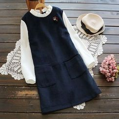 YOYO - 假两件皱摺连衣裙