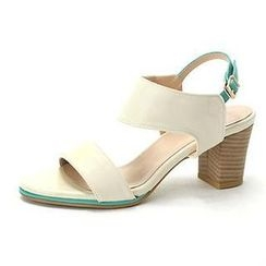 MODELSIS - Two-Tone Chunky Heel Sandals