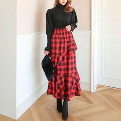 PPGIRL - Ruffled Checked Long Skirt