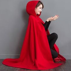Salisha - Plain Wool Hooded Cape