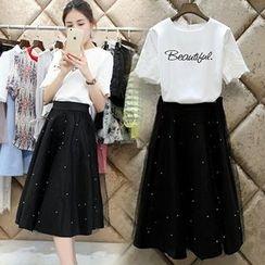 Ashlee - Set: Lettering Short-Sleeve T-Shirt + Embellished Midi Skirt