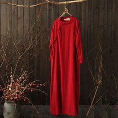 Rosadame - 長袖刺繡連衣長裙