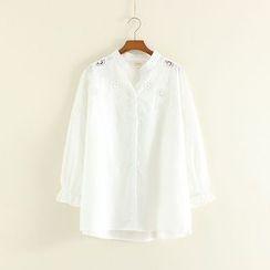 Mushi - Perforated Split Neck Shirt
