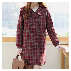 Sechuna - Double-Breasted Plaid Coat
