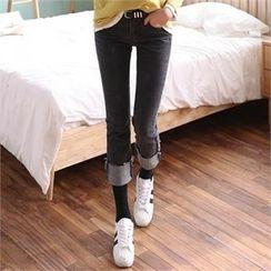 CHICFOX - Cuff-Hem Cropped Jeans