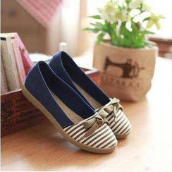 Sunsteps - Bow-Accent Striped Espadrilles