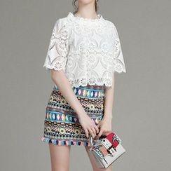 MIUCO - Set: Lace Short Sleeve T-Shirt + Patterned Fringe Hem Mini Skirt