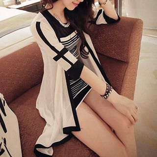 QZ Lady - Black and White Buttonless Long Cardigan