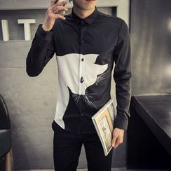 UniMOD - Long-Sleeve Cat Print Shirt