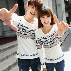 Lovebirds - Couple Long-Sleeve Nordic-Pattern T-Shirt