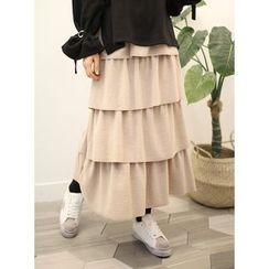 STYLEBYYAM - Band-Waist Layered Long Skirt