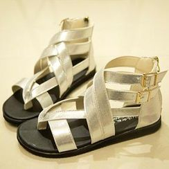 QQ Trend - Lamé Cross Strap Sandals