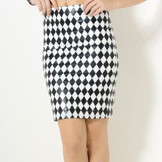 YesStyle Z - Faux-Leather Argyle Pencil Skirt