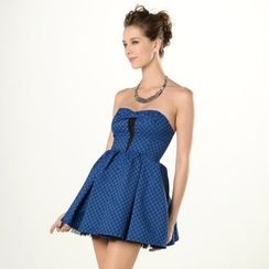 YesStyle Z - Strapless Bow-Accent Patterned A-Line Minidress