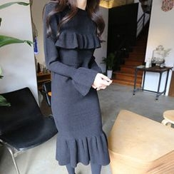 Hello sweety - Frill-Trim Knit Dress