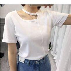 HazyDazy - 短袖镂空圆领T恤