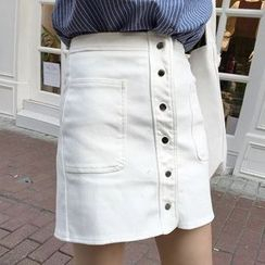 IndiGirl - Button Miniskirt