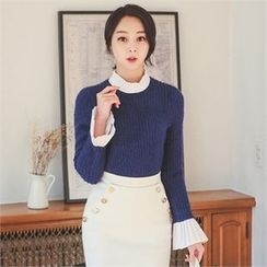 ode' - Contrast-Trim Wool Blend Sweater