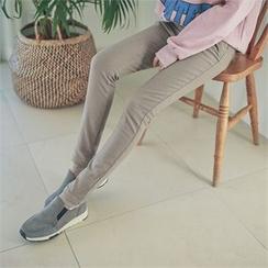 Styleberry - Band-Waist Brushed Fleece Lined Skinny Pants