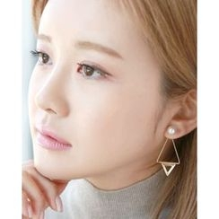 Miss21 Korea - Faux-Pearl Triangle Earrings