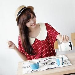 BAIMOMO - Peter Pan-Collar Dotted Top