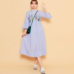 HOTPING - 3/4-Sleeve Embroidered Stripe Long Shirtdress