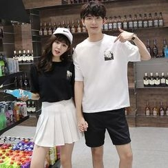 We Belong - Couple Matching Print Short-Sleeve T-Shirt / Shorts / A-Line Skirt