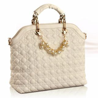 19th Street - Beaded Chain-Accent Quilted Satchel