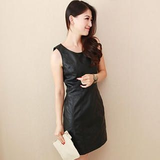 JVL - Faux Leather Sheath Dress