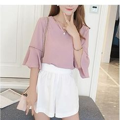 HazyDazy - Elbow Sleeve V-Neck Chiffon Blouse