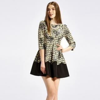 O.SA - Contrast-Trim Check A-Line Dress