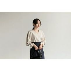 UPTOWNHOLIC - Round-Neck Bell-Sleeve Top