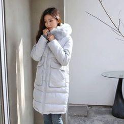 Hello sweety - Faux-Fur Trim Hooded Puffer Coat