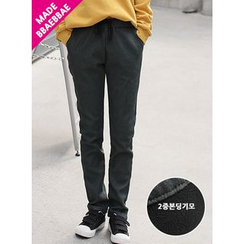 BBAEBBAE - Drawstring-Waist Fleece-Lined Tapered Pants