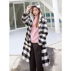 BBAEBBAE - Hooded Fleece-Lined Checked Long Coat