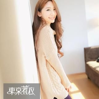 Tokyo Fashion - Turtleneck Cable-Knit Long Sweater