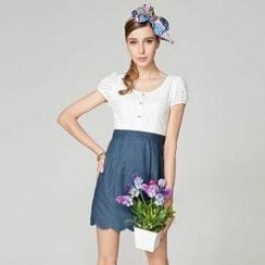 O.SA - Eyelet Panel Denim Dress