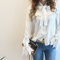 NANING9 - Tie-Neck Lace-Detail Blouse