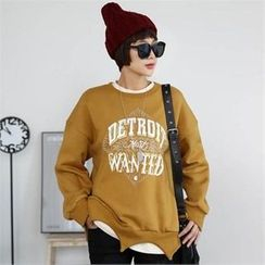 CHICFOX - Lettering Fleece-Lined Sweatshirt