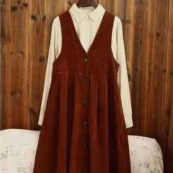 tete - 燈芯絨背帶連衣裙
