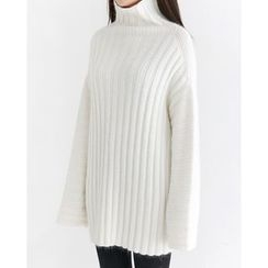 Someday, if - Turtle-Neck Wool Blend Rib-Knit Top
