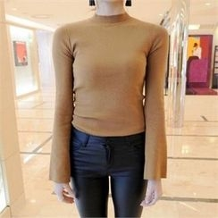 LIPHOP - Mock-Neck Bell-Sleeve Knit Top