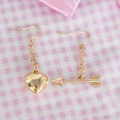 Rega - Heart Arrow Non-Matching Earrings