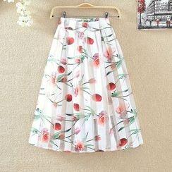 Clementine - Floral Print Organza Skirt